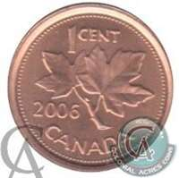 2006 Canada Non Magnetic 1-cent Brilliant Uncirculated (MS-63)