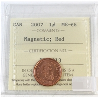 2007 Canada 1-Cent ICCS Certified MS-66 Magnetic; Red