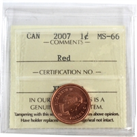 2007 Canada 1-Cent ICCS Certified MS-66 Non-Magnetic; Red