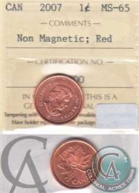 2007 Canada Non Magnetic 1-cent ICCS Certified MS-65 Red