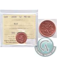 2008 Canada 1-cent Magnetic ICCS Certified MS-66 Red