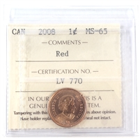 2008 Canada Magnetic 1-cent ICCS Certified MS-65 Red