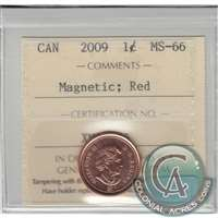 2009 Canada Magnetic 1-cent ICCS Certified MS-66 Red