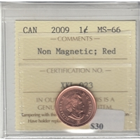 2009 Canada Non Magnetic 1-cent ICCS Certified MS-66 Red