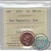2010 Canada Non Magnetic 1-cent ICCS Certified MS-65 Red