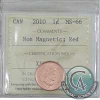 2010 Canada Non Magnetic 1-cent ICCS Certified MS-66 Red