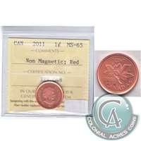 2011 Canada Non Magnetic 1-cent ICCS Certified MS-65 Red