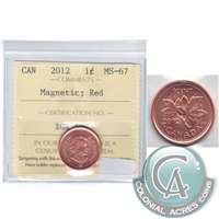 2012 Canada Magnetic 1-cent ICCS Certified MS-67 Red