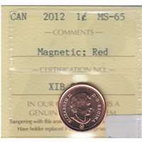 2012 Canada Magnetic 1-cent ICCS Certified MS-65 Red