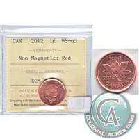 2012 Canada Non Magnetic 1-cent ICCS Certified MS-65 Red
