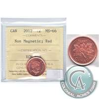 2012 Canada Non Magnetic 1-cent ICCS Certified MS-66 Red