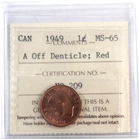 1949 Canada 1-Cent ICCS Certified MS-65 Red; A Off Denticle