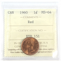1960 Canada 1-cent ICCS Certified MS-64
