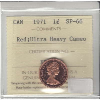 1971 Canada 1-cent ICCS Certified SP-66 Ultra Heavy Cameo Red