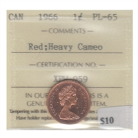 1966 Canada 1-cent ICCS Certified PL-65 Red Heavy Cameo