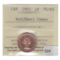 1963 Canada 1-cent ICCS Certified PL-65 Red Heavy Cameo