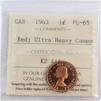 1963 Canada 1-cent ICCS Certified PL-65 Red Ultra Heavy Cameo