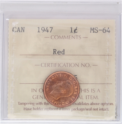 1947 Canada 1-cent ICCS Certified MS-64 Red