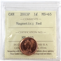 2003P Canada Old Effigy 1-Cent ICCS Certified MS-65 Magnetic; Red