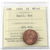 1920 Canada Small 1-cent ICCS Certified MS-64 Red (XPZ 952)