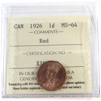 1926 Canada 1-Cent ICCS Certified MS-64 Red (XIC 380)