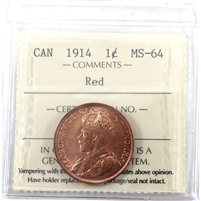 1914 Canada 1-cent ICCS Certified MS-64 Red (XQL 284)