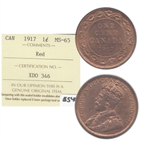 1917 Canada 1-cent ICCS Certified MS-65 Red (XDO 346)