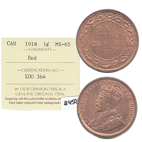 1918 Canada 1-cent ICCS Certified MS-65 Red (XDO 364)