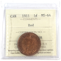 1911 Canada 1-cent ICCS Certified MS-64 Red (XJX 138)