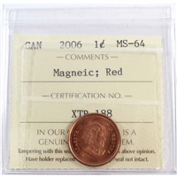 2006 Canada Magnetic 1-cent ICCS Certified MS-64 Red