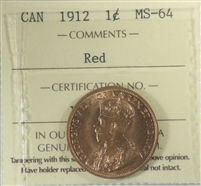 1912 Canada 1-cent ICCS Certified MS-64 Red (XUM 434)