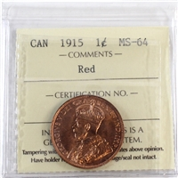 1915 Canada 1-cent ICCS Certified MS-64 Red (XUM 438)