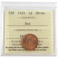 1929 Canada 1-cent ICCS Certified MS-64 Red (XVP 341)
