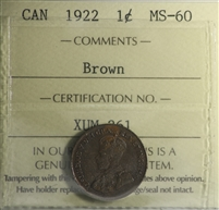 1922 Canada 1-cent ICCS Certified MS-60 Brown (XUM 261)