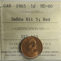 1965 SmBds Blt 5 Canada 1-cent ICCS Certified MS-66 Red