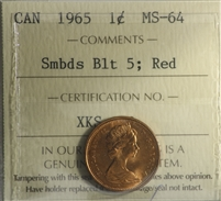 1965 SmBds Blt 5 Canada 1-cent ICCS Certified MS-64 Red