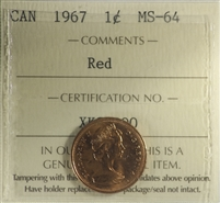 1967 Canada 1-cent ICCS Certified MS-64 Red