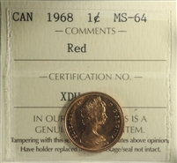 1968 Canada 1-cent ICCS Certified MS-64 Red