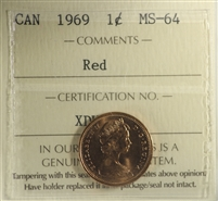 1969 Canada 1-cent ICCS Certified MS-64 Red