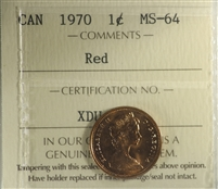 1970 Canada 1-cent ICCS Certified MS-64 Red