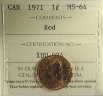 1971 Canada 1-cent ICCS Certified MS-64 Red
