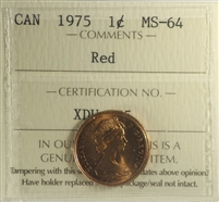1975 Canada 1-cent ICCS Certified MS-64 Red