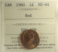 1980 Canada 1-cent ICCS Certified MS-64 Red