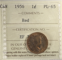 1956 Canada 1-cent ICCS Certified PL-65 Red