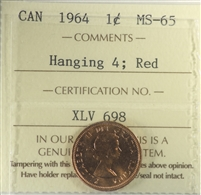 1964 Hanging 4 Canada 1-cent ICCS Certified MS-65 Red