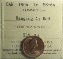 1964 Hanging 4 Canada 1-cent ICCS Certified MS-64 Red