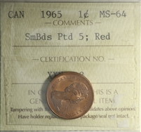 1965 SmBds Ptd 5 Canada 1-cent ICCS Certified MS-64 Red