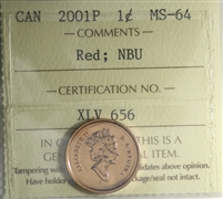 2001P Canada 1-cent ICCS Certified MS-64 Red; NBU