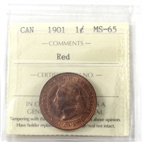 1901 Canada 1-cent ICCS Certified MS-65 Red (XPZ 886)