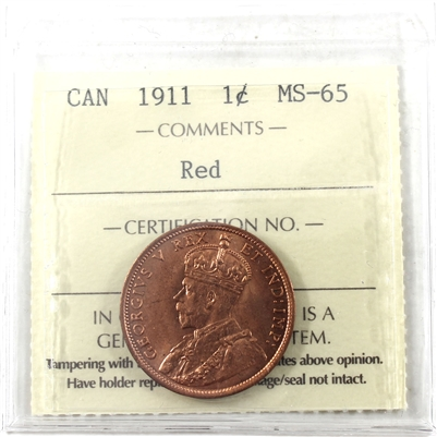 1911 Canada 1-cent ICCS Certified MS-65 Red (XUM 432)